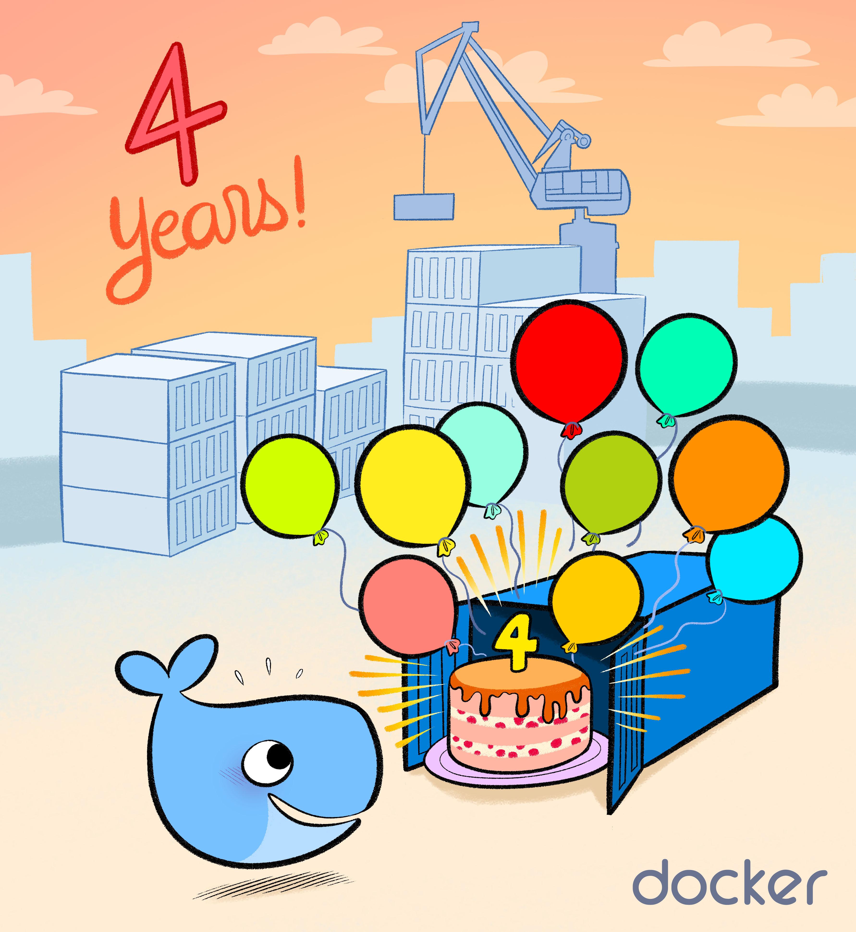 Docker Birthday #4 Celebration - venez apprendre Docker